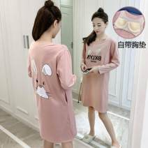 Nightdress Other / other M 80-100kg, l 100-120kg, XL 120-140kg Simplicity Long sleeves pajamas longuette autumn other youth Crew neck cotton printing 81% (inclusive) - 95% (inclusive) 200g