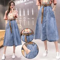 skirt Spring 2021 S [80-95 kg], m [95-110 kg], l [100-115 kg], XL [115-125 kg], 2XL [125-145 kg], 3XL [145-160 kg], 4XL [160-180 kg], 5XL [180-200 kg] Blue [same belt for free] Middle-skirt High waist Umbrella skirt Solid color