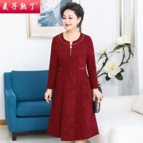 Middle aged and old women's wear Spring 2021 Red Navy XL 2XL 3XL 4XL 5XL commute Dress Self cultivation singleton  Solid color 40-49 years old Socket thin Crew neck Medium length routine M211-161 The wheat is ripe other Other 100% 96% and above Pure e-commerce (online only) zipper longuette other