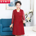Middle aged and old women's wear Spring 2021 gules XL 2XL 3XL 4XL 5XL fashion Dress easy singleton  Solid color 40-49 years old Socket thin V-neck Medium length routine M211-164 The wheat is ripe Diamond inlay other Other 100% 96% and above Pure e-commerce (online only) zipper longuette Lace skirt