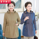 Middle aged and old women's wear Spring 2021 Khaki blue XL 2XL 3XL 4XL 5XL 6XL fashion Jacket / jacket easy singleton  Solid color 40-49 years old Cardigan moderate Hood Medium length (length 50-70cm) routine M203-290 The wheat is ripe pocket other Other 100% 96% and above zipper