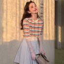 Wool knitwear Summer of 2019 S,M,L Red stripe, orange stripe, pleated skirt, mesh skirt Short sleeve singleton  Socket other 31% (inclusive) - 50% (inclusive) Regular routine commute Other / other