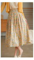 skirt Spring 2021 Average size Yellow, blue Middle-skirt commute High waist Pleated skirt Broken flowers Type A 30-34 years old More than 95% cotton lady