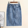 skirt Summer 2020 S,M,L,XL,2XL blue Middle-skirt commute High waist Denim skirt Type H 30-34 years old 51% (inclusive) - 70% (inclusive) Denim Other / other cotton Make old Korean version