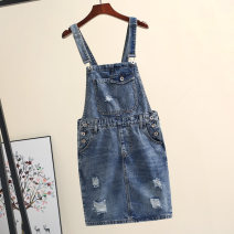 Dress Summer 2020 Light blue, blue S,M,L,XL,2XL Short skirt singleton  Sleeveless commute other High waist Solid color other One pace skirt other straps 18-24 years old Type H Korean version Pocket, worn, strap, button, zipper 51% (inclusive) - 70% (inclusive) Denim cotton