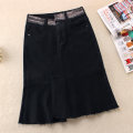 skirt Winter of 2019 S,M,L,XL,2XL black Middle-skirt commute High waist Irregular Solid color Type A 25-29 years old 71% (inclusive) - 80% (inclusive) Denim Other / other cotton Make old Korean version