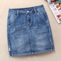 skirt Spring 2020 XS,S,M,L,XL,2XL blue Short skirt Versatile High waist High waist skirt Solid color Type H 18-24 years old 81% (inclusive) - 90% (inclusive) Denim Other / other cotton Old, zipper, scratch