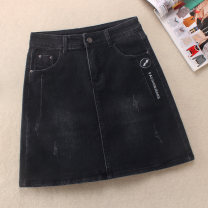 skirt Autumn 2020 S,M,L black Short skirt Versatile Natural waist Denim skirt Solid color Type A 25-29 years old Skirt 9053 71% (inclusive) - 80% (inclusive) Denim Other / other cotton Make old