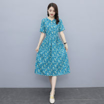 Dress Summer 2021 Picture color M L XL XXL longuette singleton  Short sleeve commute Crew neck Elastic waist Broken flowers Single breasted A-line skirt routine 25-29 years old Type A Daifei show Korean version Pocket button HLG2107-1 More than 95% other polyester fiber Polyester 100%