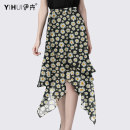 skirt Summer 2020 S M L XL XXL XXXL XXXXL Decor Mid length dress Versatile Natural waist Irregular Decor 35-39 years old More than 95% Yihui polyester fiber printing Polyester 100%