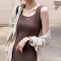 Dress Autumn 2020 Grey black brown Average size Short skirt singleton  Sleeveless commute Crew neck Loose waist Solid color other One pace skirt other Others 25-29 years old Type X Nefario Korean version ne3456 More than 95% other other Other 100% Pure e-commerce (online only)