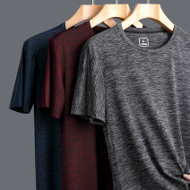 T-shirt other Dark grey red dark blue thin 4XL 5XL M L XL 2XL 3XL Lieyan Short sleeve Crew neck standard daily summer STL-8811 Polyamide fiber (nylon) 55.5% polyester fiber 34% polyurethane elastic fiber (spandex) 10.5% old age routine Basic public other Summer 2021 stripe stripe nylon