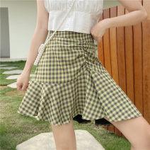 skirt Summer 2020 M,L,XL,2XL,3XL,4XL Black, green, atmospheric black Short skirt commute High waist A-line skirt lattice Type A 31% (inclusive) - 50% (inclusive) brocade cotton Zipper, stitching Korean version