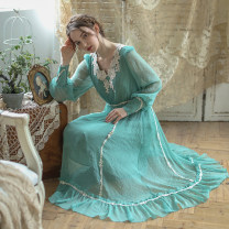 Dress Spring 2020 Turquoise longuette singleton  Long sleeves Sweet V-neck middle-waisted zipper Princess Dress Princess sleeve Type X Face Art Mori