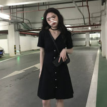 Dress Summer 2020 Black dress Average size longuette singleton  Short sleeve commute V-neck High waist Solid color Single breasted A-line skirt routine Others 18-24 years old Plnaa / polana Korean version Button hjasikd More than 95% other Other 100%