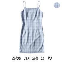 Dress Spring 2020 Light blue lattice S,M,L Short skirt One word collar Socket 31% (inclusive) - 50% (inclusive)