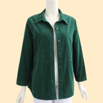 Middle aged and old women's wear Spring 2021, summer 2021, winter 2021 Home shirt easy singleton  Solid color 50-59 years old Cardigan moderate Polo collar routine routine pocket 96% and above Single breasted Long sleeves