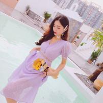 Dress Summer 2021 violet M,L,XL Mid length dress singleton  Short sleeve commute V-neck High waist A-line skirt puff sleeve 31% (inclusive) - 50% (inclusive) cotton