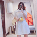 Dress Summer 2021 White, black S, M Short skirt Short sleeve Sweet stand collar High waist Solid color Socket A-line skirt puff sleeve Type A 31% (inclusive) - 50% (inclusive) other cotton solar system