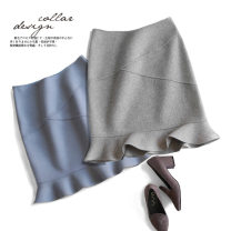 skirt Winter of 2018 S M L XL Black grey camel peacock blue rice Camel Short skirt commute High waist Ruffle Skirt Solid color Type O 30-34 years old MingZ-7835 81% (inclusive) - 90% (inclusive) Wool Mingweinuo wool Ol style Wool 81% others 19% Pure e-commerce (online only)