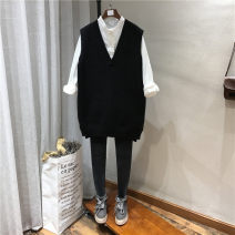 Vest Autumn 2020 Black, off white Average size Medium length V-neck street Solid color other 25-29 years old 96% and above Cashmere