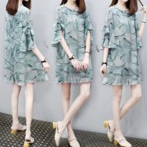Dress Other / other M,L,XL,XXL Korean version Short sleeve Medium length summer Crew neck Decor
