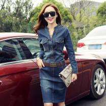 Dress Autumn of 2019 S M L XL 2XL 3XL Mid length dress singleton  Long sleeves commute V-neck Loose waist Solid color Socket A-line skirt routine Others 25-29 years old Type A Korean version More than 95% Denim other Other 100% Pure e-commerce (online only)