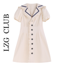 Dress Summer 2021 Apricot S,M,L,XL,2XL,3XL Mid length dress singleton  Long sleeves commute V-neck Solid color A-line skirt bishop sleeve Others 18-24 years old Korean version Lace stitching 31% (inclusive) - 50% (inclusive)
