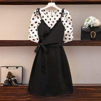 Women's large Summer 2021 Top, Chiffon Dress Large XL, large XXL, large XXL, large XXXXL, large L Two piece set commute Korean version routine Medium length