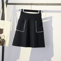 Women's large Spring 2021 black Large XL, large XXL, large XXL, large XXXXL, large L, M skirt singleton  commute moderate Solid color Korean version acrylic fibres Three dimensional cutting 96% and above Short skirt