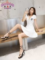 Dress Autumn of 2019 Black, white S,M,L Short skirt singleton  Short sleeve commute V-neck High waist Solid color zipper A-line skirt Others 25-29 years old Type X Song Xuefu Simplicity Open back, stitching, zipper More than 95% other other