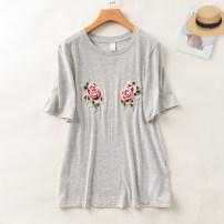 T-shirt Light grey M, L Summer 2020 Short sleeve Crew neck Self cultivation Regular routine commute cotton 51% (inclusive) - 70% (inclusive) 18-24 years old Korean version Allie Aixi