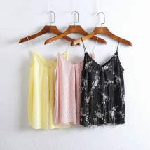 Vest sling Summer of 2018 Black, white, black, red, black, pink, light, yellow, pink, white flowers. XS S M L singleton  easy commute camisole