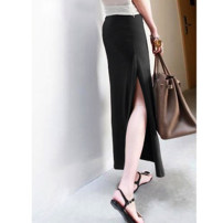 skirt Summer of 2018 XS,S,M,L,XL,2XL,3XL,4XL,5XL,6XL Dark blue, black, dark gray longuette Versatile High waist Solid color Type H modal