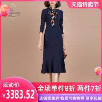 Dress Autumn 2020 blue S M L XL 2XL 3XL Mid length dress singleton  Long sleeves commute Crew neck middle-waisted Solid color Socket A-line skirt routine Others 30-34 years old Type A Hdfulleren / Mrs. Huang Du Ol style Lace up zipper More than 95% knitting polyester fiber