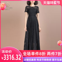 Dress Summer 2021 black S M L XL 2XL 3XL Mid length dress singleton  Short sleeve commute Crew neck middle-waisted Solid color Socket A-line skirt routine Others 30-34 years old Type A Hdfulleren / Mrs. Huang Du lady Zipper lace jacquard More than 95% Chiffon polyester fiber Polyester 100%