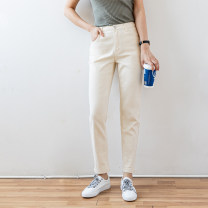 Casual pants Beige 26,27,28,29,30 Spring 2021 Ninth pants Straight pants High waist commute Thin money 96% and above Meiji Feiyang cotton Ol style cotton