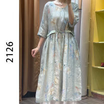 Women's large Summer 2021 blue Average size Dress other easy other hemp 40-49 years old 31% (inclusive) - 50% (inclusive)