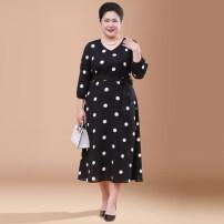 Middle aged and old women's wear Spring of 2019 Black (quarter sleeve) black (short sleeve) L [110-125 Jin] XL [120-135 Jin] 2XL [135-150 Jin] 3XL [150-165 Jin] 4XL [165-180 Jin] 5XL [180-220 Jin] commute Dress Self cultivation singleton  Dot 40-49 years old Socket moderate V-neck bishop sleeve other
