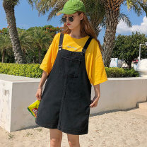 Women's large Spring 2021 black Large XL, large XXL, large XXL, large XXXXL, large L Dress singleton  commute easy moderate Conjoined Solid color Korean version Denim, cotton Three dimensional cutting 8899# 18-24 years old 81% (inclusive) - 90% (inclusive) Short skirt straps Contains (9 oz) - 11 oz