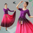 Square dance suit Graceful and beautiful M,L,XL,2XL,3XL,4XL,5XL,6XL modal  female routine Over 60 years old, 50-59 years old, 40-49 years old, 30-39 years old, 25-29 years old, 18-24 years old Self cultivation elbow sleeve show Plants and flowers Long skirt, medium skirt, medium waist, elastic waist