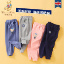 trousers middle-waisted Rubber belt Class A Autumn 2020 Classic Teddy neutral 12 months 9 months 18 months 2 years 3 years 4 years 5 years 6 years old trousers Sports pants spring and autumn There are models in the real shot kz0214 Open crotch leisure time Chinese Mainland