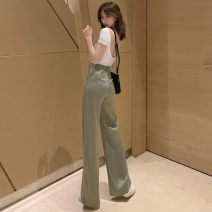 Casual pants Light green L,M,S Summer of 2019 trousers Wide leg pants High waist commute 18-24 years old Korean version