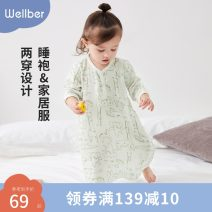 Home Gown / Nightgown 80cm 90cm 100cm 110cm 120cm 130cm Cotton 71.4% rayon 28.6% Line animal color dot lemon Wellber / wilberu Class B neutral summer Under 1 year old, 2 years old, 3 years old, 4 years old, 5 years old, 6 years old cotton hygroscopic and sweat releasing 1B220220826A1080F Spring 2021