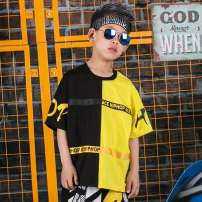 T-shirt black ACE HIPHOP 110cm 120cm 130cm 140cm 150cm 160cm 170cm male summer Short sleeve Crew neck Original design There are models in the real shooting nothing cotton Cotton 100% eighteen thousand one hundred and thirty-four Class B Sweat absorption