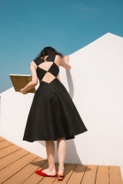 Dress Spring 2021 Black booking, black (in stock) S,M,L longuette singleton  Sleeveless commute other High waist Solid color other Big swing other Others 25-29 years old Type A TOPCLOSET Retro Hollow out, three-dimensional decoration T21N3862 More than 95% hemp