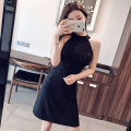 Dress Summer of 2019 black S M L XL Short skirt singleton  Sleeveless commute Crew neck High waist Solid color Socket A-line skirt routine Hanging neck style 18-24 years old Type A social standing lady Topless sequins Y38931# More than 95% brocade polyester fiber Other polyester 95% 5%