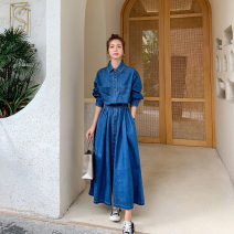 Dress Spring 2021 Denim blue S M L longuette singleton  Long sleeves commute Polo collar High waist Solid color Single breasted A-line skirt routine Others 18-24 years old Type A Xiruo Korean version Button More than 95% Denim other Other 100% Exclusive payment of tmall