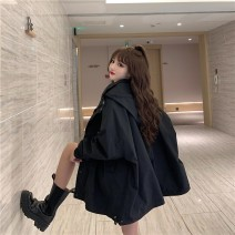 short coat Spring 2021 M,L,XL Black, gray blue Long sleeves have cash less than that is registered in the accounts thickening singleton  easy commute bishop sleeve Hood zipper Solid color 18-24 years old 96% and above polyester fiber polyester fiber