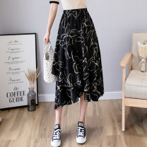 skirt Spring 2020 Average size Off white black Mid length dress Versatile High waist Ruffle Skirt Decor Type A OTIS22158 Chiffon Skerden